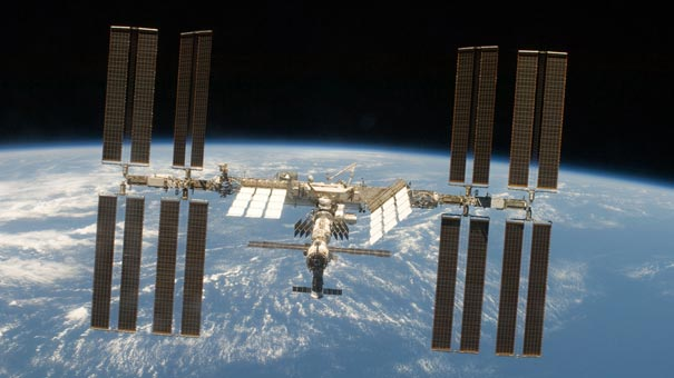 ISS with Cupola attached to side facing Earth; about 250 miles overhead.